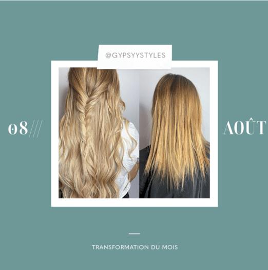 transformation des extensions de cheveux du mois: août
